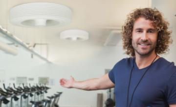 Exhale, le premier ventilateur de plafond sans pâles breveté pour une ventilation totale et saine en salle de fitness !